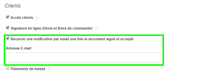 Facturation Devis Bon de Commande Notification Email Signature Accord