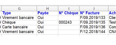 Export Paiement Excel Chèque Facturation