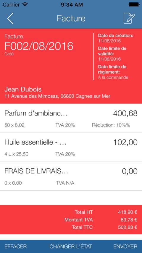 Application Mobile - Aperçu facture