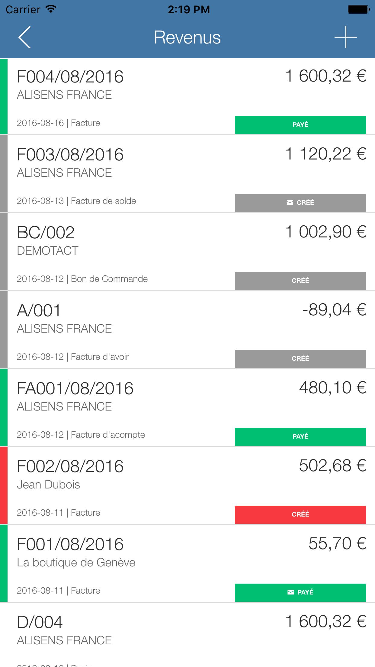 Application Mobile - Liste des revenus