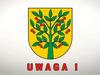 Herb gminy wiśniew składający się z drzewa wiśniowego na żółtym tle z napisem UWAGA