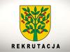 Herb gminy Wiśniew z napisem REKRUTACJA