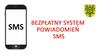"""Grafika telefonu komórkowego z napisem """"Bezpłatny system powidamiania SMS"""" oraz herbem gminy"""