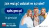 Na górze grafiki jest napis: Jak wziąć udział w spisie? Po lewej stronie grafiki jest napis: spis.gov.pl, poniżej: To proste! Po prawej stronie widać kobietę, mężczyznę i dziecko, którzy entuzjastycznie uśmiechają się i trzymają kciuki w górze.