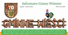Fragment okładki informatora Gminne Wieści zawierający tytuł, herb gminy i wymienione wszystkie miejscowości Gminy Wiśniew