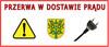 """Herb gminy Wiśniew, wtyczka do kontaktu i trójkątny żółty znak z wykrzyknikiem oraz napis """"przerwa w dostawie prądu"""""""
