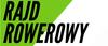 Napis RAJD ROWEROWY na białym tle z zielonym fragmentem