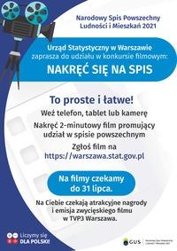 Po lewej stronie jest grafika przedstawiająca kamerę filmową na statywie. Poniżej napis: Urząd Statystyczny w Warszawie zaprasza do udziału w konkursie filmowym NAKRĘĆ SIĘ NA SPIS